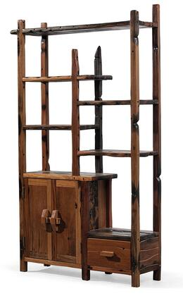 DS-S0421-L Arete Left Side Display Unit with 5 Shelves  1 Drawer  2 Doors and Wooden Hardware in Brown