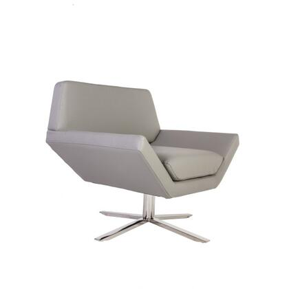 Eirian FV255LGREY Lounge Chair with Polished Stainless Steel  Piped Stitching and Faux Leatherette Upholstery in