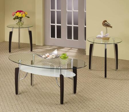 701558 Occasionals 3 PC Table Set with Two End Tables  One Coffee Table  Clear Glass Table Tops in Chrome and Cappuccino