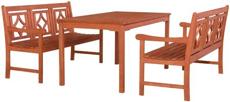 Malibu Collection V98SET70 3 PC Outdoor Patio Dining Set with 2 Benches  Rectangular Shaped Table  Umbrella Hole  Rustic Style and Eucalyptus Solid Wood