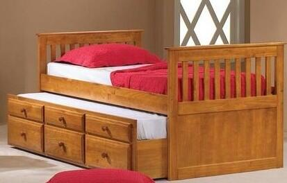 103FH Mission Captains Full Trundle Bed with 3 Drawers  Simple Pulls and Pull Out Trundle in Honey