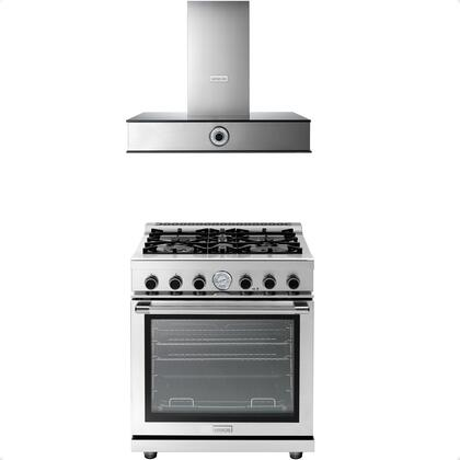 2-Piece Stainless Steel Kitchen Package with RN301GPSS 30 inch  Freestanding Natural Gas Range