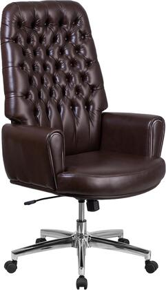 BT-444-BN-GG High Back Traditional Tufted Brown Leather Executive Swivel Chair with