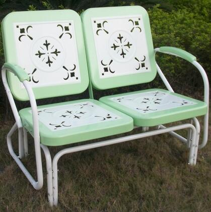 Retro Collection 71350 42 inch  Metal Glider with Decorative Vintage Stamped Design and Square 2-Tone Back and Seat in
