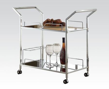 Usha Collection 98129 34 inch  Serving Cart with 5mm Black Tempered Glass Top  Bottom Glass Shelf  Casters  Wine Rack and Metal Tube in Chrome