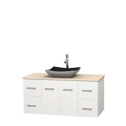 WCVW00948SWHIVGS1MXX 48 in. Single Bathroom Vanity in White  Ivory Marble Countertop  Altair Black Granite Sink  and No