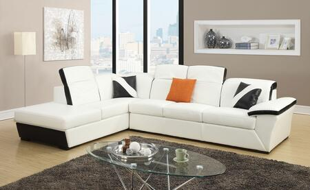 Sienna 51625 Sectional Sofa with Right Facing Sofa  Left Facing Chaise with Storage  Adjustable Headrest  Tight Back and Bonded Leather Match in White and