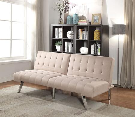"Astra II Collection 57018 71"" Adjustable Sofa with Chrome Metal Legs  Tufted Cushions  Eucalyptus Wood Frame Construction and Linen Fabric Upholstery in Beige"