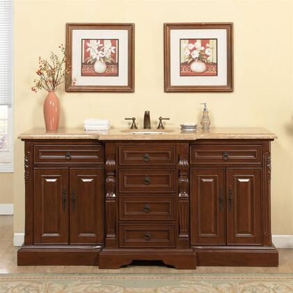 V0280TW72C 72 inch  Single Sink Cabinet with 7 Drawers  4 Doors  Travertine Top and Undermount White Ceramic Sink