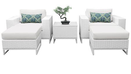 MIAMI-05e Miami 5 Piece Outdoor Wicker Patio Furniture Set 05e with 1 Cover in Sail
