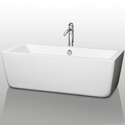 WCOBT100567 67 in. Center Drain Soaking Tub in White with Chrome