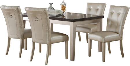 Voeville II Collection 720255SET 5 PC Dining Room Set with Bluestone Marble Top Dining Table and 4 PU Leather Upholstered Side Chairs in Platinum