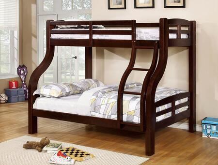Solpine Collection CM-BK618EX-BED Twin Over Size Bunk Bed with Curved Wood Design  Attached Ladder  14 PC Slats Top/Bottom  Solid Wood and Wood Veneers