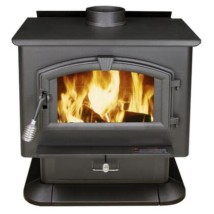 """3000 21"""" Log Length Firebrick Lined Extra Large Wood Burning Stove with Large Viewing Window and Air Wash Glass in Black"""