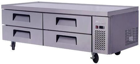 C-CB72 72 inch  Competitor Series Refrigerated Chef Base with 4 Drawers  Stainless Steel Constructions  and Casters  in Stainless