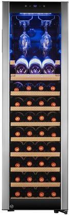 AKDY 50 46-Bottle Touch Panel Single Zone Chrome Wire Wood Shelves Freestanding Compressor Key Lock Black Silver Wine Cooler