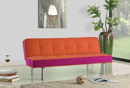 Hailey Collection 57138 66 inch  Adjustable Sofa with Chrome Metal Legs  Converts to Bed  Wooden Frame Construction and Flannel Fabric Upholstery in Orange and