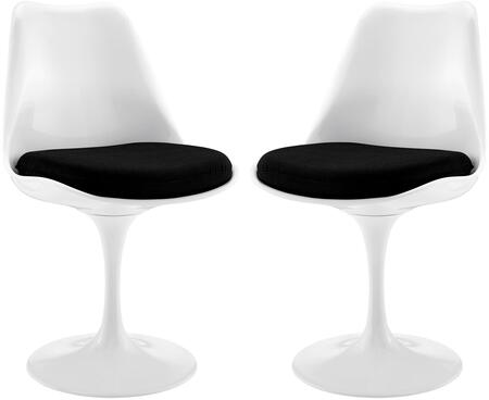 EEI-1343-BLK Set of 2 Lippa Dining Side Chair with Pedestal Base and Stitched Detailing in Black