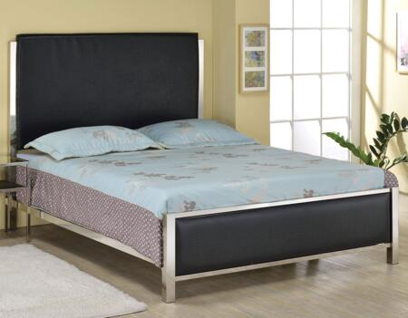 Johanna Collection 25090Q Queen Size Bed with Low Profile Footboard  Panel Headboard  Nickel Metal Frame and Crocodile Padded PU Leather Upholstery in Black