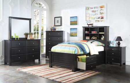 Mallowsea 30390TSET 5 PC Bedroom Set with Twin Size Bed + Dresser + Mirror + Chest + Nightstand in Black
