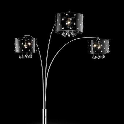 Bronte L95120A Arch Lamp with Glossy Black Acrylic Shade with Mini Crystals  Hanging Crystals  Marble Base  Shade size: 12