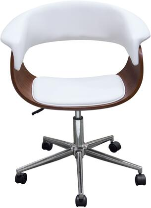COVECHWH Cove Collection Office Chair with Molded Bamboo Seat  Supple White Leatherette Seat and Back  in