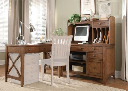 Hearthstone Collection 382-HO-CDS 4-Piece Complete Desk with Writing Desk  Corner Filler  Computer Credenza and Writing Desk Hutch in Rustic Oak