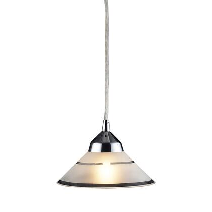 1477/1 1 Light Pendant in Polished Chrome and Etched Clear