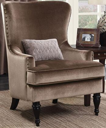 Manuela CM6145BR-CH Chair with Turned Legs  Nail Head Accents and Flannelette Fabric Upholstery in