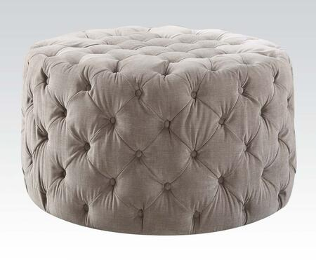Maddy Collection 96509 36 inch  Ottoman with Oversized Round Shape  Button Tufting and Fabric Upholstery in Grey