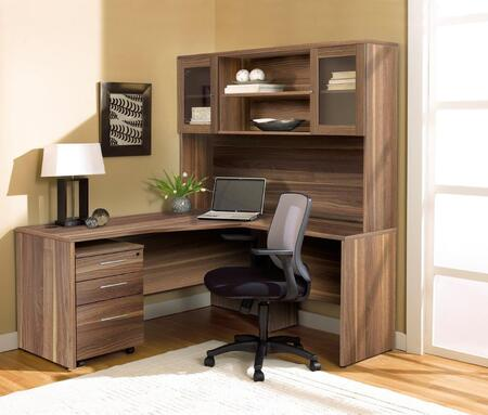 1C100002RWL Walnut Corner L Shaped Desk with Hutch and Mobile