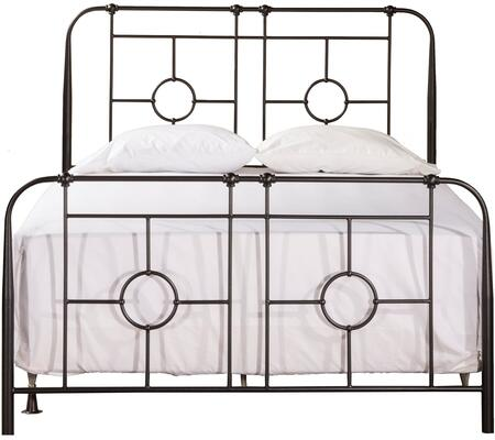 Trenton Collection 1859-460 Full Size Headboard and Footboard Set with Open-Frame Panel Design  Small Round Castings and Metal Construction in Black
