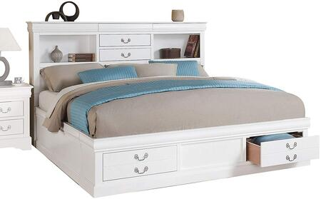 Louis Philippe III Collection 24490Q Queen Size Bed with Storage Drawers  Antique Brass Metal Handle  Bookcase Storage Headboard  Solid Pine Wood and Gum