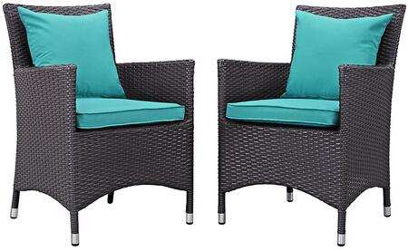Convene Collection Eei-2188-exp-trq-set 2 Pc Outdoor Patio Dining Set With Fabric Cushions  Water Resistant  Powder Coated Aluminum Frame And Synthetic Rattan