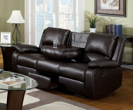 Oxford Collection Cm6555s-btd 77 Reclining Sofa With Folding Center Console  2 Recliners  Plush Cushions And Leatherette In Rustic Dark