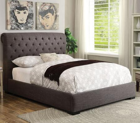 Westmist Collection 25280Q Queen Size Bed with Button Tufted Headboard  Low Profile Footboard  Dark Brown Wooden Legs and Fabric Upholstery in Light Brown Line