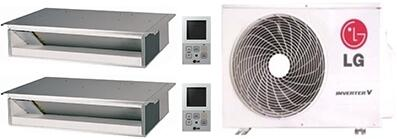 Dual Zone Mini Split Air Conditioner System with 18000 BTU Cooling Capacity  2 Indoor Units  and Outdoor 749429