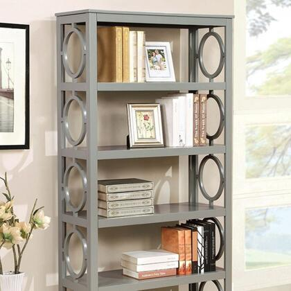 Zoey CM-AC6436GY Display Shelf with Contemporary Style  Circle Cut-outs  5-Tier Bookshelf  Solid Wood/Wood Veneer/Others in