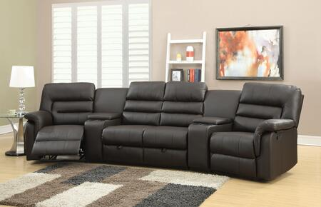 Nicholas 51620 Home Theatre Set with Left Arm Facing Recliner  2 Consoles  Armless Loveseat  Right Arm Facing Recliner and PU Leather Upholstery in Espresso
