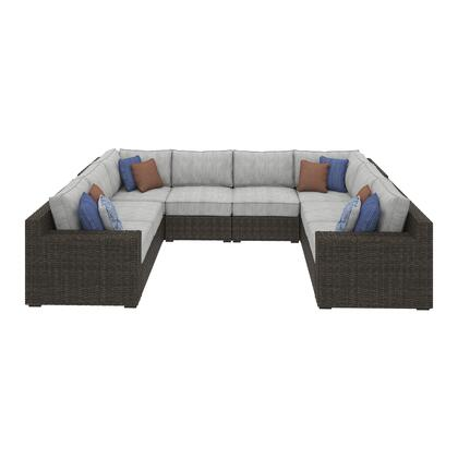 Alta Grande Collection P782-854-877(2)-846(2) 6-Piece Patio Sectional with Left/Right Arm Facing Loveseat  2x Armless Chairs and 2x Corner Chairs in Brown and