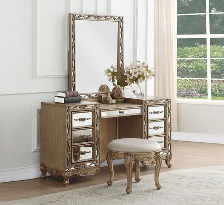 Orianne Collection 23797SET 3 PC Vanity Set with 7 Drawer Vanity Desk  Rectangle Shaped Mirror and Champagne PU Leather Upholstered Seat Vanity Stool in