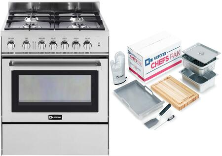 2-Piece Stainless Steel Kitchen Package with VEFSGG304NSS 30 inch  Freestanding Gas Range and Chefs