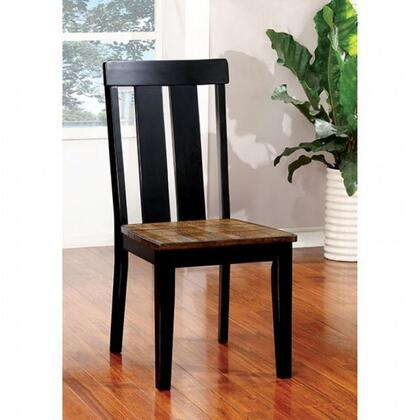 Alana Collection CM3668SC-2PK Set of 2 Transitional Style Side Chair with Plank Design and Slatted Back in Antique