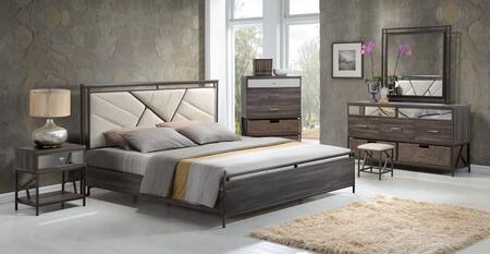 Adrianna 20947EK7PC Bedroom Set with Eastern King Size Bed + Dresser + Dresser Baskets + Mirror + Chest + Chest Baskets + Nightstand in Walnut