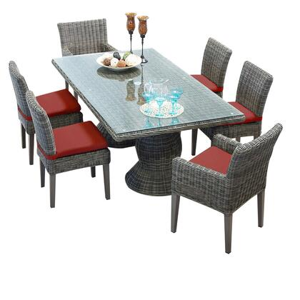 Capecod-rectangle-kit-4adc2dcc-terracotta Cape Cod Vintage Stone Rectangular Outdoor Patio Dining Table With 4 Armless Chairs And 2 Chairs W/ Arms With 2