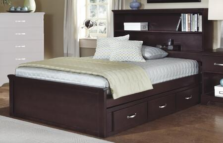 Signature Series 477730-3-479300-478300 Twin Size Bookcase Bed with Molding Details  3 Storage Drawers and Bookcase Headboard in