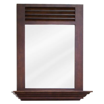 MIR078 Bath Elements 25.5 inch  x 30 inch  Nutmeg Lindley mirror with 4 inch  shelf and Beveled
