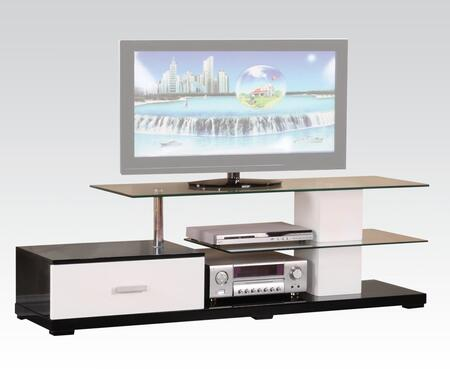 Ivana Collection 91140 63 inch  TV Stand with 10mm Tempered Clear Glass Top  8mm Tempered Clear Glass Shelf  1 Drawer and 2 Open Media Compartments in Black and