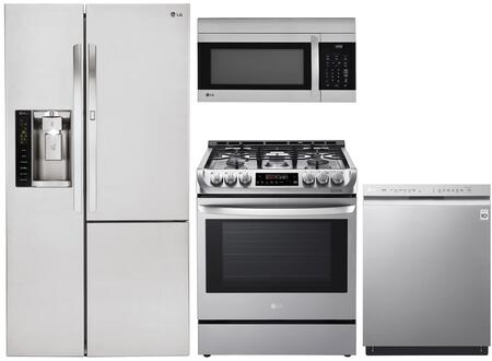 """LG 4 Piece Kitchen Appliances Package with LSXS26366S 36"""" Side by Side Refrigerator  LRE3061ST 30"""" Electric Range  LMV1762ST 30"""" Over the Range"""