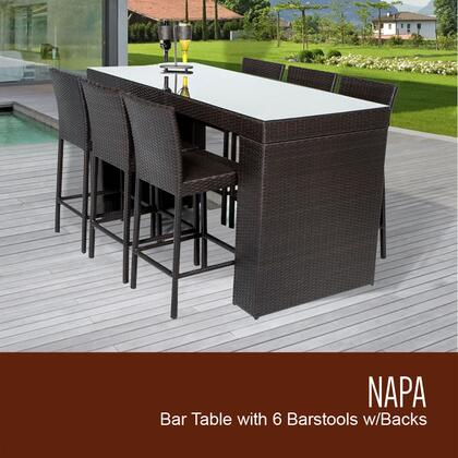 NAPA-BARTABLE-WITHBACK-6 7-Piece Napa Bar Table Set with Table and 6 Bar Stools with